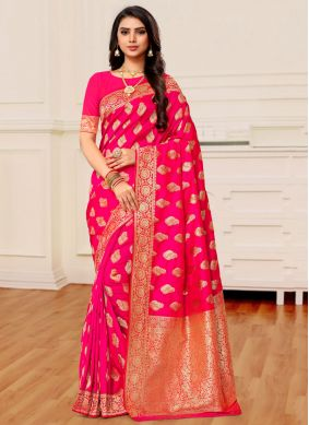 Hot Pink Reception Banarasi Silk Classic Saree