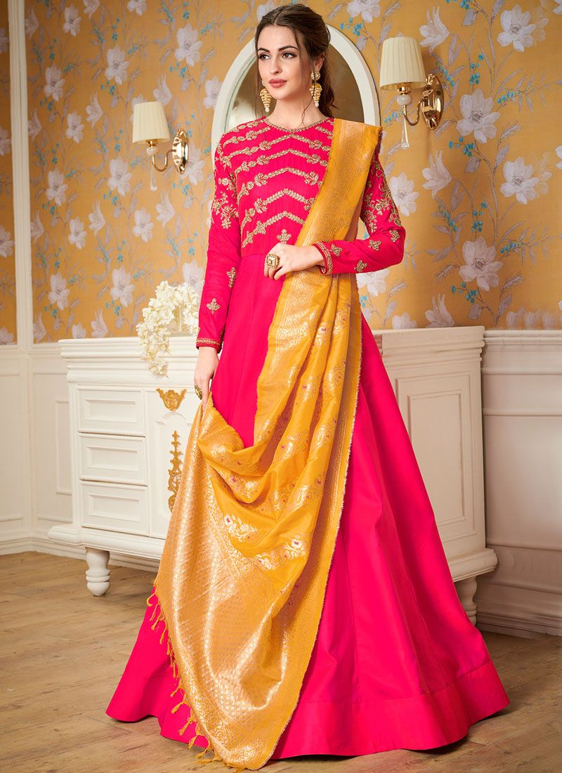 Hot Pink Resham Party Readymade Gown