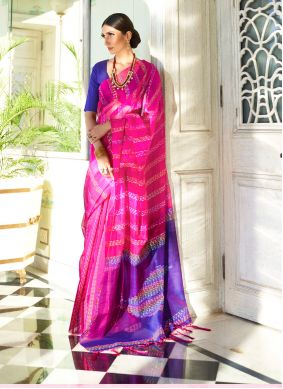 Hot Pink Silk Contemporary Saree