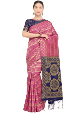Hot Pink Weaving Party Traditional Saree