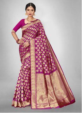 Hot Pink Weaving Silk Saree