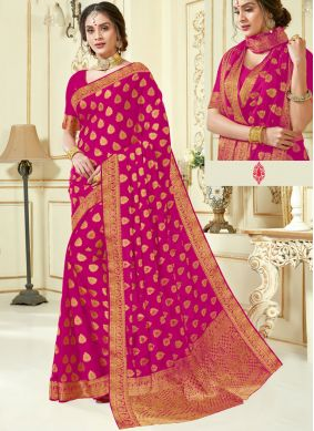 Hot Pink Woven Crepe Silk Traditional Saree
