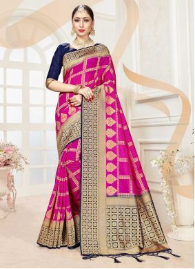 Hot Pink Woven Festival Traditional Saree