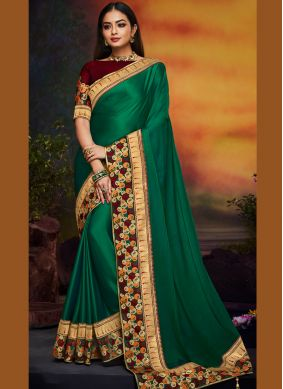 Hypnotic Art Silk Patch Border Green Traditional Saree