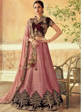 Hypnotic Embroidered Pink Jacquard Silk Lehenga Choli