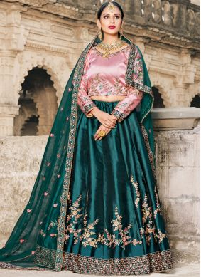 Hypnotic Embroidered Satin Lehenga Choli