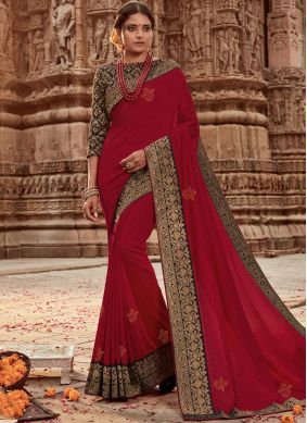Hypnotic Red Designer Traditional Saree