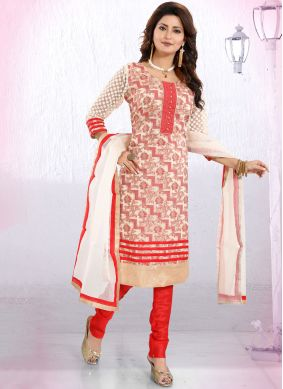 Hypnotic Red Fancy Churidar Designer Suit