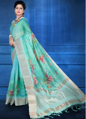 Hypnotizing Art Silk Ceremonial Printed Saree
