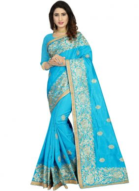 Hypnotizing Zari Blue Traditional Designer Saree