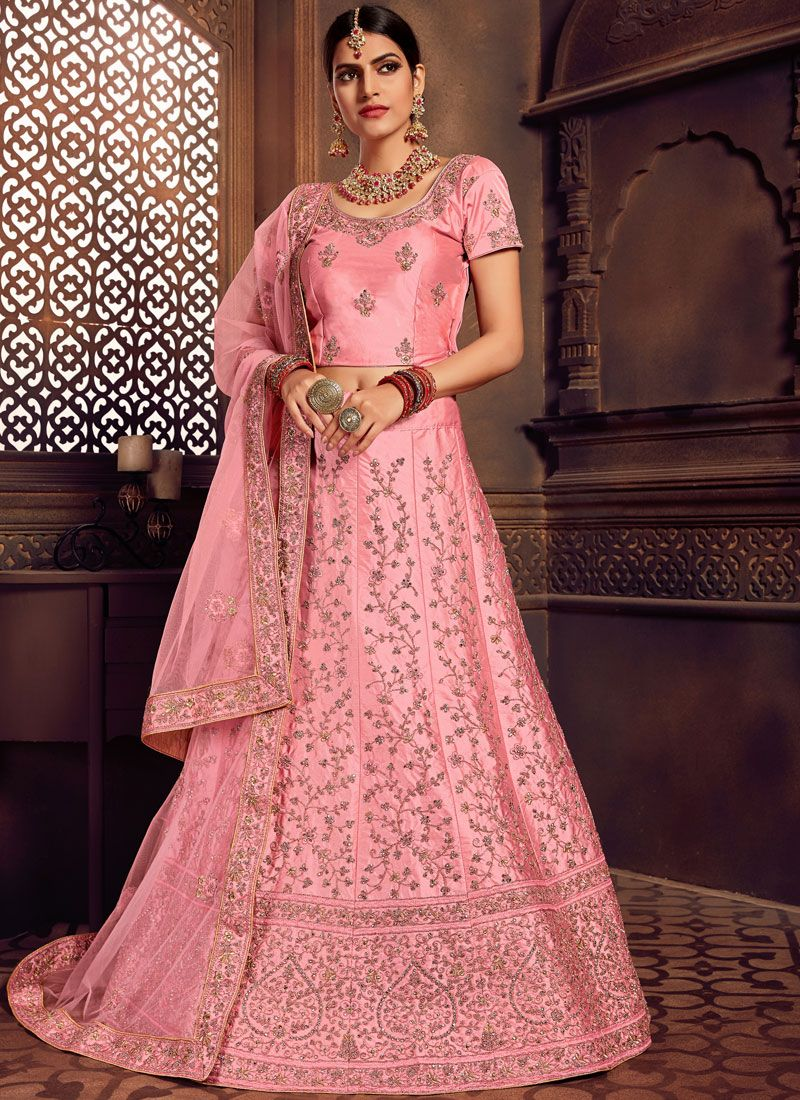 Ideal Art Silk Pink Embroidered A Line Lehenga Choli