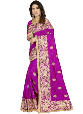 Immaculate Art Silk Purple Embroidered Classic Designer Saree