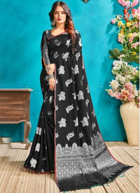 Immaculate Black Woven Traditional Designer Saree