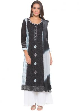 Immaculate Cotton Black Embroidered Readymade Suit