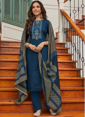 Immaculate Cotton Embroidered Blue Pant Style Suit