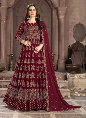 Immaculate Maroon Embroidered Anarkali Salwar Suit