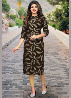 Immaculate Rayon Print Brown Party Wear Kurti