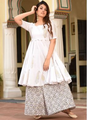 Immaculate White Digital Print Muslin Trendy Palazzo Suit