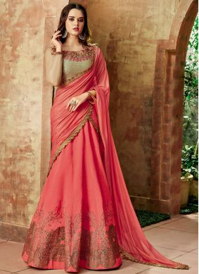 Imperial Embroidered Art Silk Red Lehenga Choli