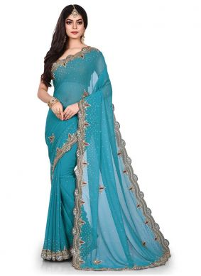 Imperial Embroidered Georgette Blue Designer Traditional Saree
