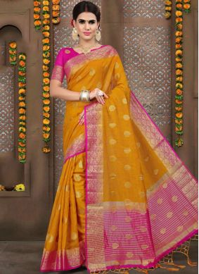 Imperial Linen Orange Designer Traditional Saree