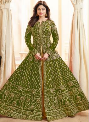 Imperial Shamita Shetty Green Malbari Silk  Long Choli Lehenga