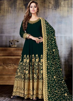 Imposing Embroidered Green Anarkali Salwar Kameez