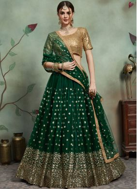 Imposing Green Sequins Trendy Lehenga Choli