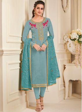 Impressive Art Silk Blue Embroidered Churidar Designer Suit