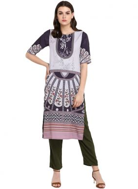 Impressive Faux Crepe Multi Colour Print Party Wear Kurti