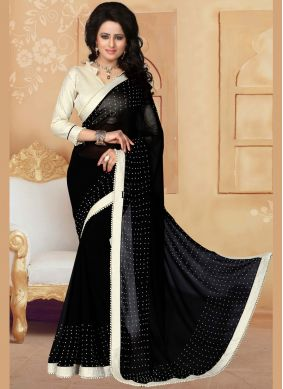 Impressive Faux Georgette Moti Work Saree