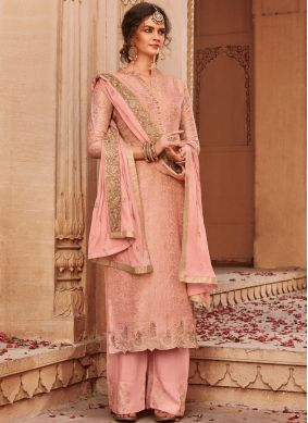 Incredible Embroidered Jacquard Palazzo Salwar Kameez