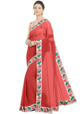 Incredible Red Faux Chiffon Printed Saree