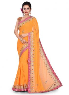 Incredible Yellow Party Designer Traditional Saree