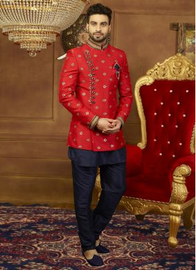 Indo Western Embroidered Art Silk in Red