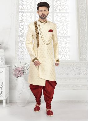 Indo Western Embroidered Jacquard in Off White
