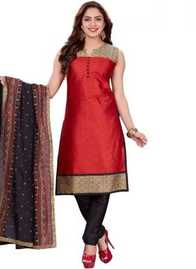 Innovative Red Print Churidar Designer Suit
