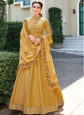 Integral Embroidered Yellow Gown