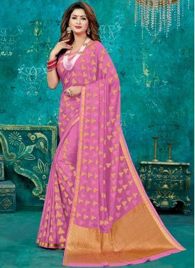 Integral Weaving Crepe Silk Pink Designer Traditional Saree