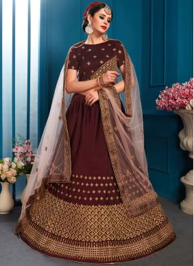 Intricate Brown Sequins Lehenga Choli