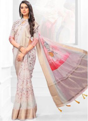 Intricate Linen Digital Print Multi Colour Casual Saree