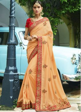 Intricate Peach Embroidered Work Trendy Saree
