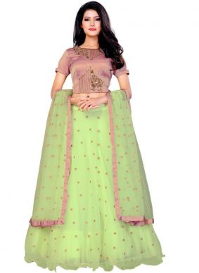 Intriguing Embroidered Green Net Designer Lehenga Choli