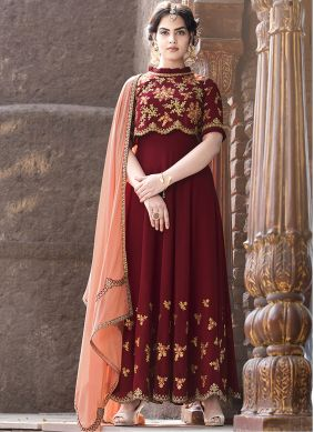 Intriguing Resham Floor Length Anarkali Suit