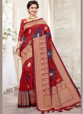 Intriguing Weaving Maroon Art Silk Traditional Designer Saree