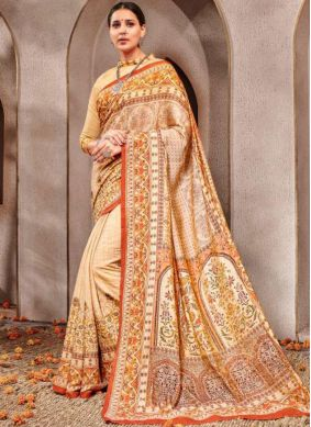 Intrinsic Digital Print Cream Banarasi Silk Traditional Saree