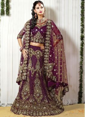 Intrinsic Embroidered Purple Lehenga Choli