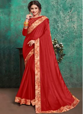 Intrinsic Red Embroidered Faux Georgette Classic Saree