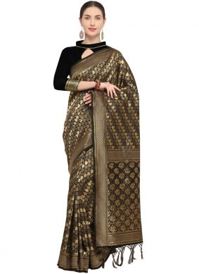 Intrinsic Weaving Black Traditional Saree