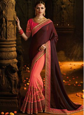 Invaluable Embroidered Silk Designer Half N Half Saree